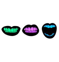 human mouth with colored teeth vector image