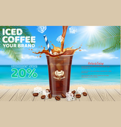 iced coffee pouring into takeaway cup background vector image