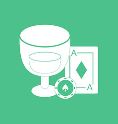 Icon ace chip poker cup vector