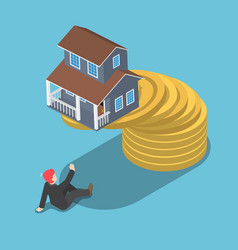 isometric house on the top of golden coin falling vector image