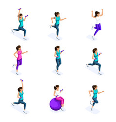 isometry a girl doing sports sports vector image