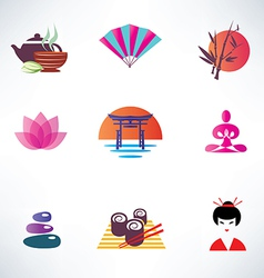 japanese culture set icons vector image