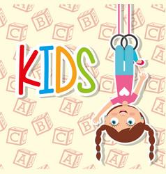 kids happy girl hanging sport rings vector image