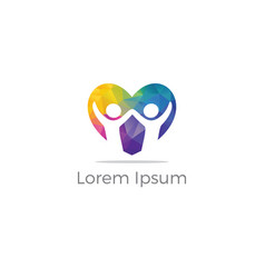 Kids love icon help poor unity logo vector
