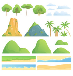 Landscape constructor creation kit with trees vector