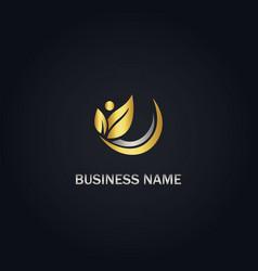 leaf organic gold logo vector image