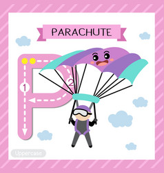 Letter p uppercase tracing parachute vector