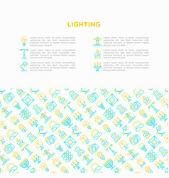 Lighting concept with thin line icons vector