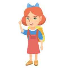 little caucasian girl pointing her forefinger up vector image