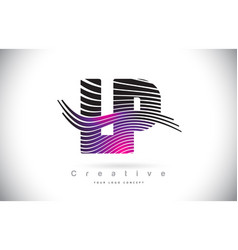 Lp l p zebra texture letter logo design with vector