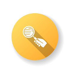 Magnify glass yellow flat design long shadow vector