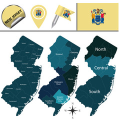 Map of new jersey with regions vector