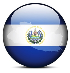 Map on flag button of Republic of El Salvador vector