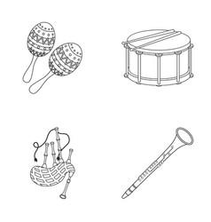 maracas drum scottish bagpipes clarinet vector image