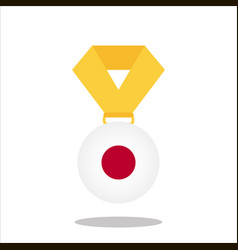 Medal with the japan flag isolated on white vector