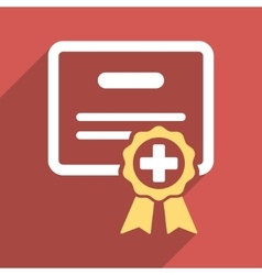 Medical Certificate Flat Square Icon with Long vector image