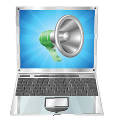 megaphone icon laptop concept vector image
