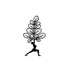 moringa and yoga logo vector image