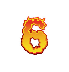 number 6 fire flames font six tattoo alphabet vector image