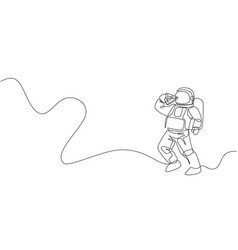 one single line drawing astronaut flying vector image