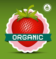 Organic Logo Red Strawberry in Pink Circle Label vector image