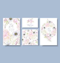 Peony anemone invitation set vector