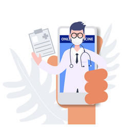 People holding mobile phone consulting doctor vector