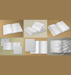 realistic magazine blank white brochure mockup on vector image