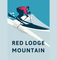 Red lodge mountain poster design simple retro vector