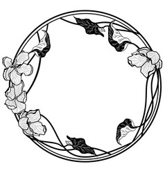Round frame with apple flowers vector