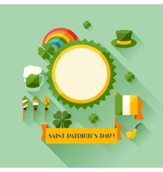 Saint Patricks Day greeting card in flat design vector
