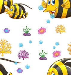 Seamless background with fish underwater vector image