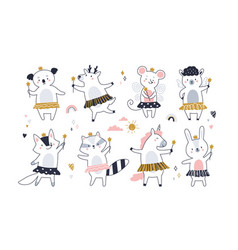 Set cute fairy animals with magic wands vector