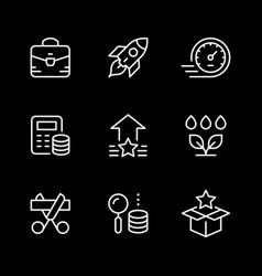 set line icons start up vector image