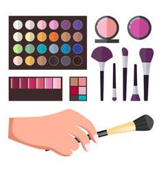 set makeup accessories brushes pallet vector image