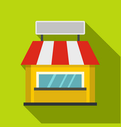 Shop building facade with signboard icon vector