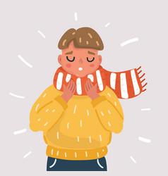 sick boy with flu vector image
