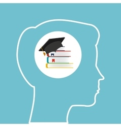 silhouette head boy library education online vector image