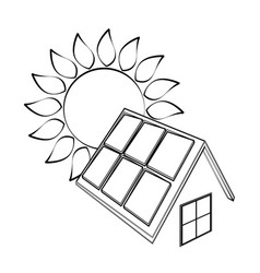 solar panels and sun silhouette vector image