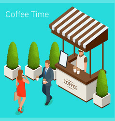 street cafe concept couple in a street cafe vector image