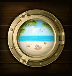 summer background in ship porthole vector image