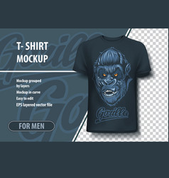 T-shirt mock-up template with gorilla inscription vector