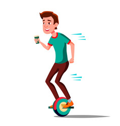 Teen boy on hoverboard riding on gyro vector