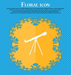 Telescope icon Floral flat design on a blue vector image