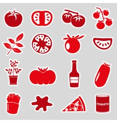 tomatoes theme red simple stickers set eps10 vector image