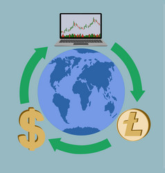 Trading and exchange anywhere in the world vector