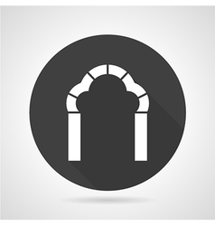 Trefoil arch black round icon vector