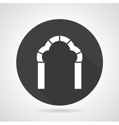 Trefoil arch black round icon vector image