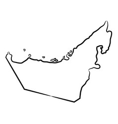 United arab emirates map from contour black vector