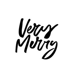 very merry christmas lettering vector image